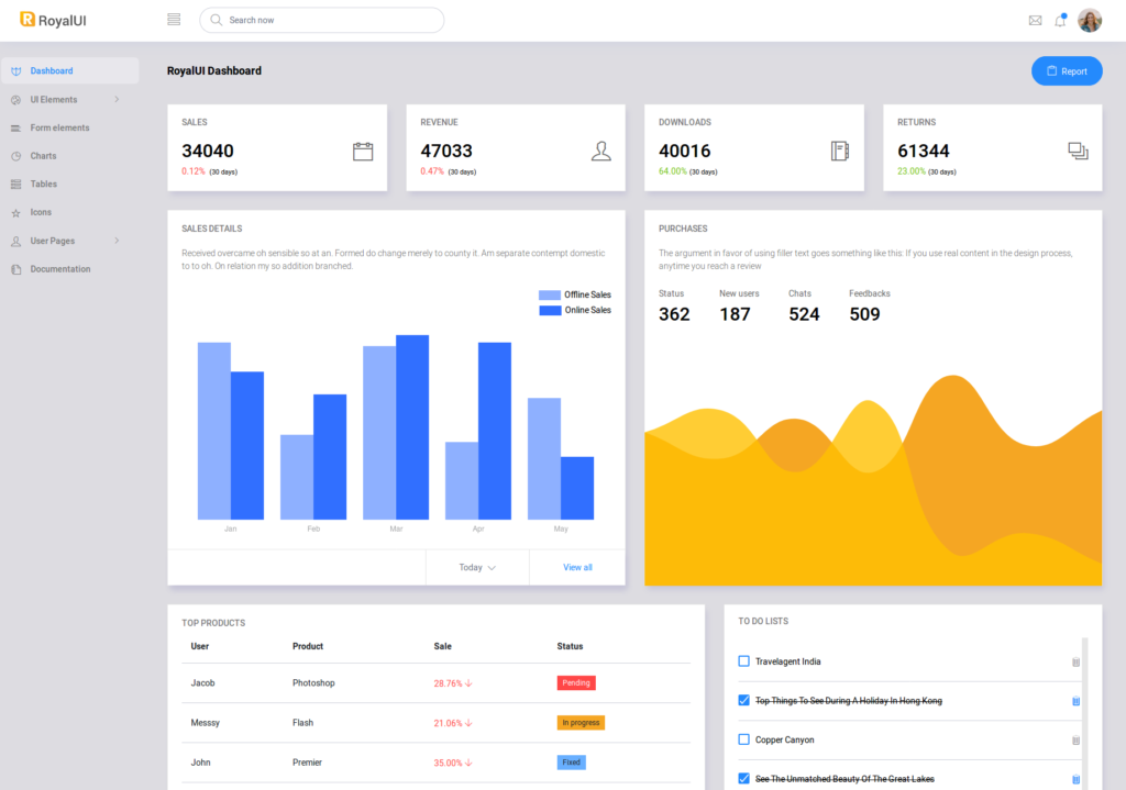 Free HTML Admin Templates Download