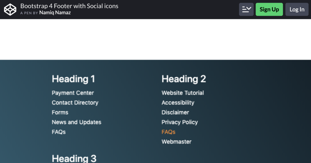Bootstrap 4 Footer With Social Icons