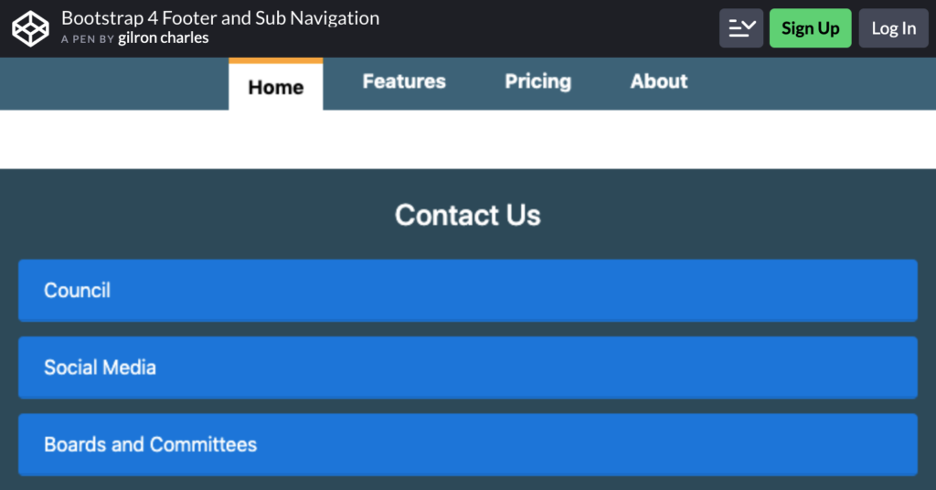 Bootstrap 4 Footer and Sub Navigation