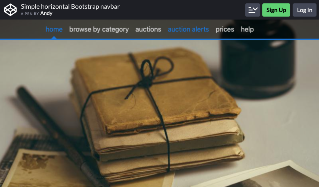 Bootstrap navbar by Andy