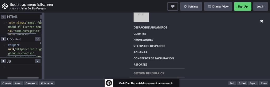 bootstrap menu fullscreen